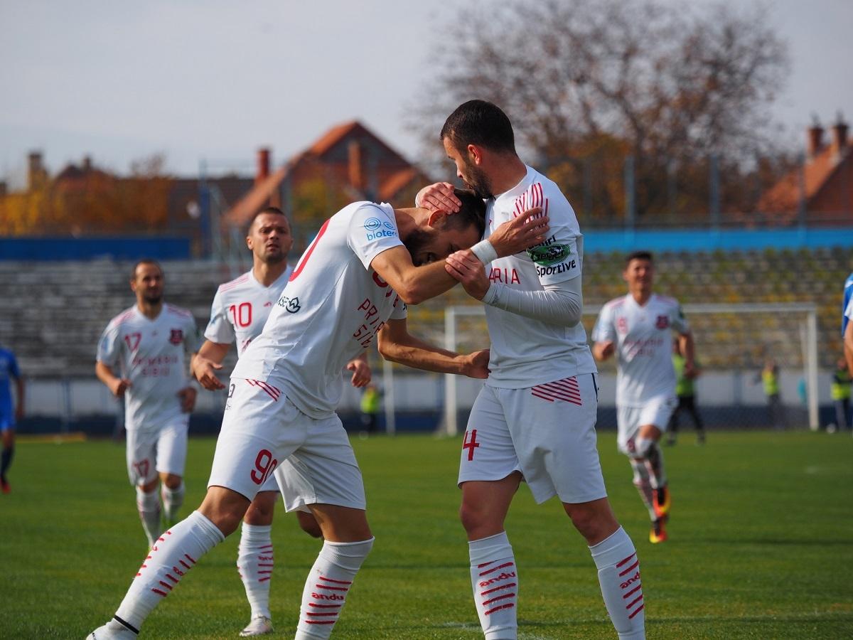 (FOTO) FC Hermannstadt, victorie importantă cu Dacia Unirea Brăila. Sibienii se mențin pe primul loc