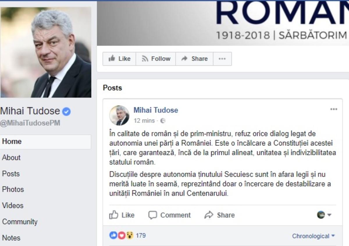 Mihai Tudose despre autonomia cerută de UDMR: