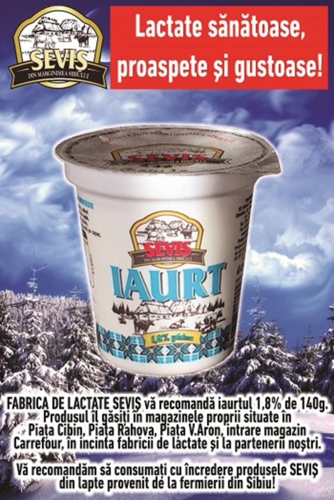 FABRICA DE LACTATE SEVIȘ vă recomandă iaurtul 1.8% de 140 grame