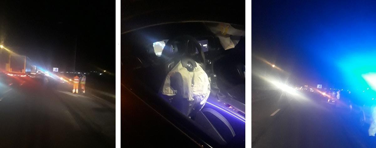 Accident la coborârea de pe Autostradă spre DN 1, în Sibiu