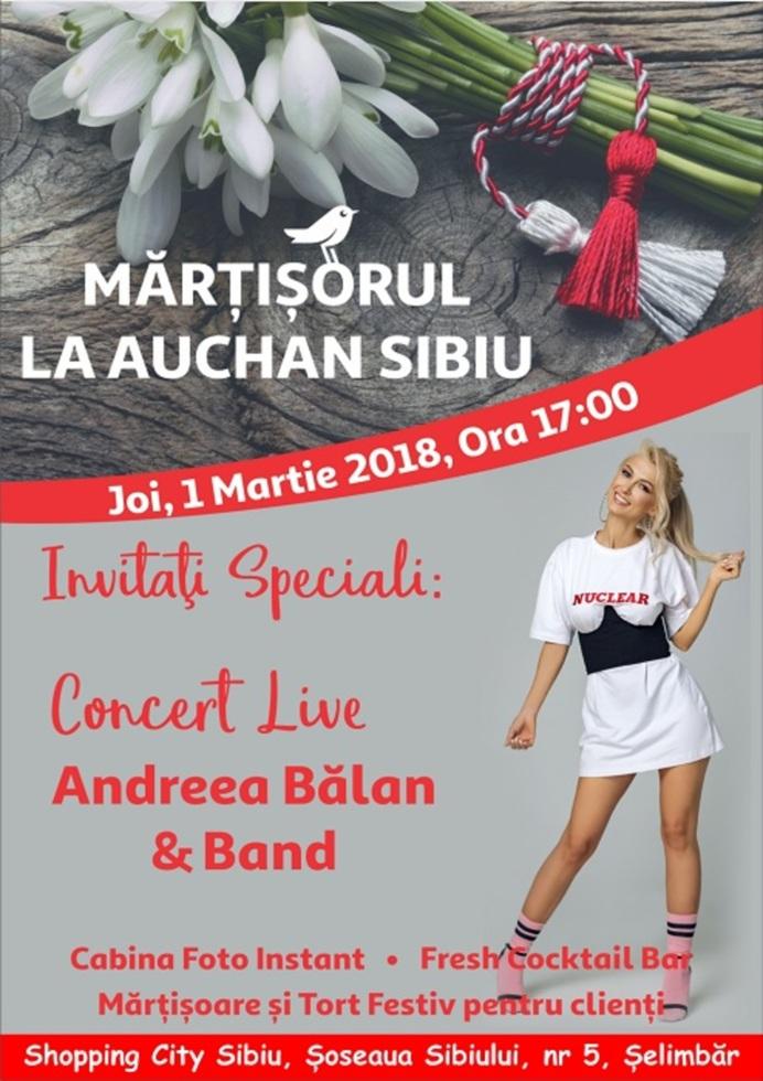 Andreea Balan va sărbători Mărțișorul, alături de sibieni, la Auchan