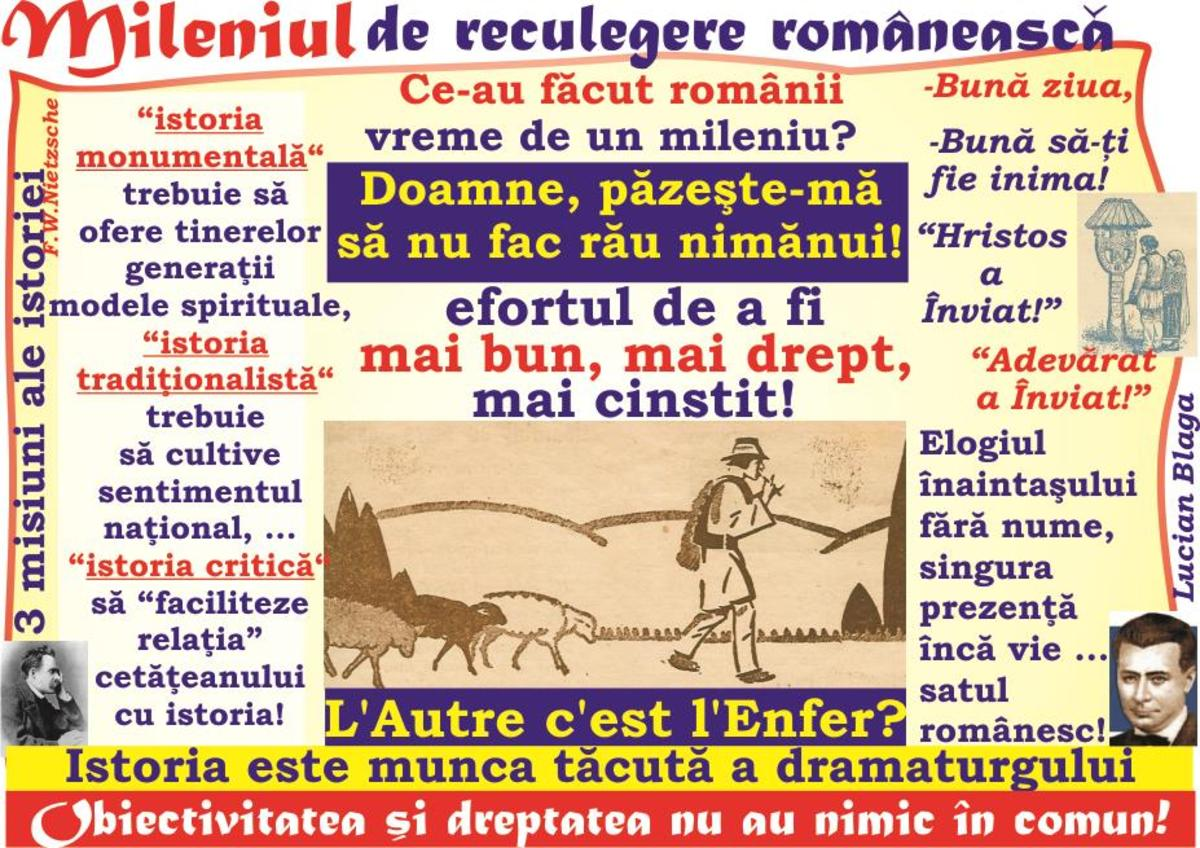2018-MAREA UNIRE şi Tribunismul (XV): Mileniul de reculegere românească - efortul de a fi mai bun, mai drept, mai cinstit! - Doamne, păzeşte-mă să nu fac rău nimănui!