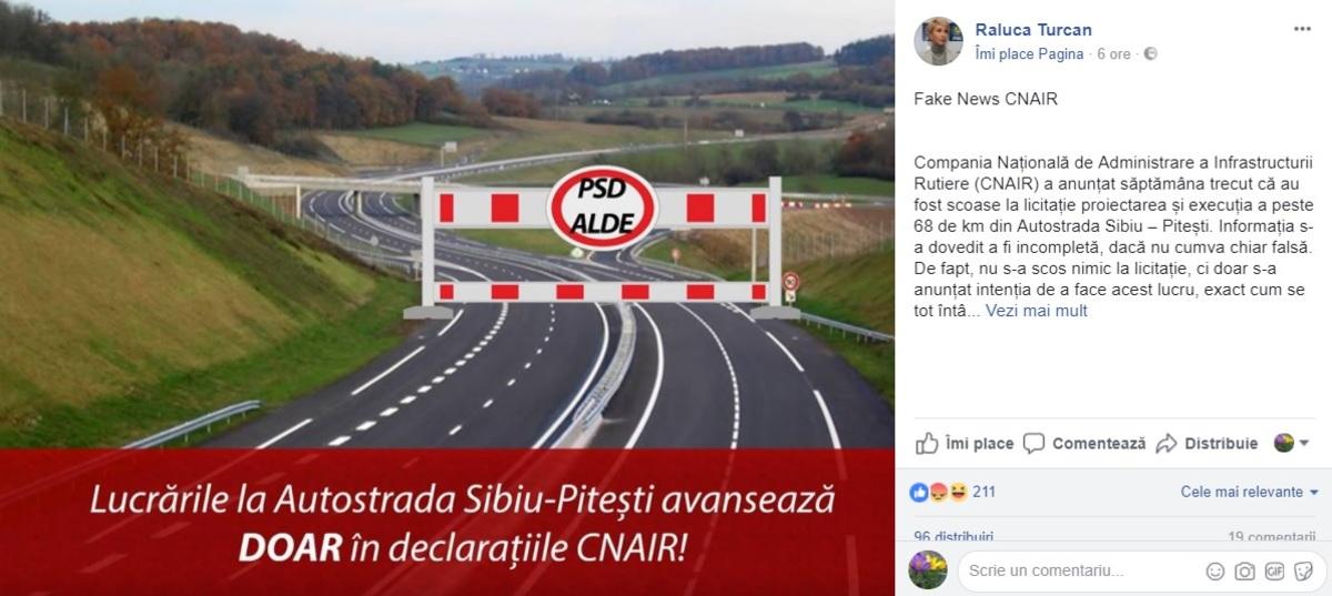 """Raluca Turcan acuză CNAIR că lansează fake news în privința autostrăzii Sibiu - Pitești: """"De fapt, nu s-a scos nimic la licitație, ci doar s-a anunțat intenția de a face acest lucru"""""""