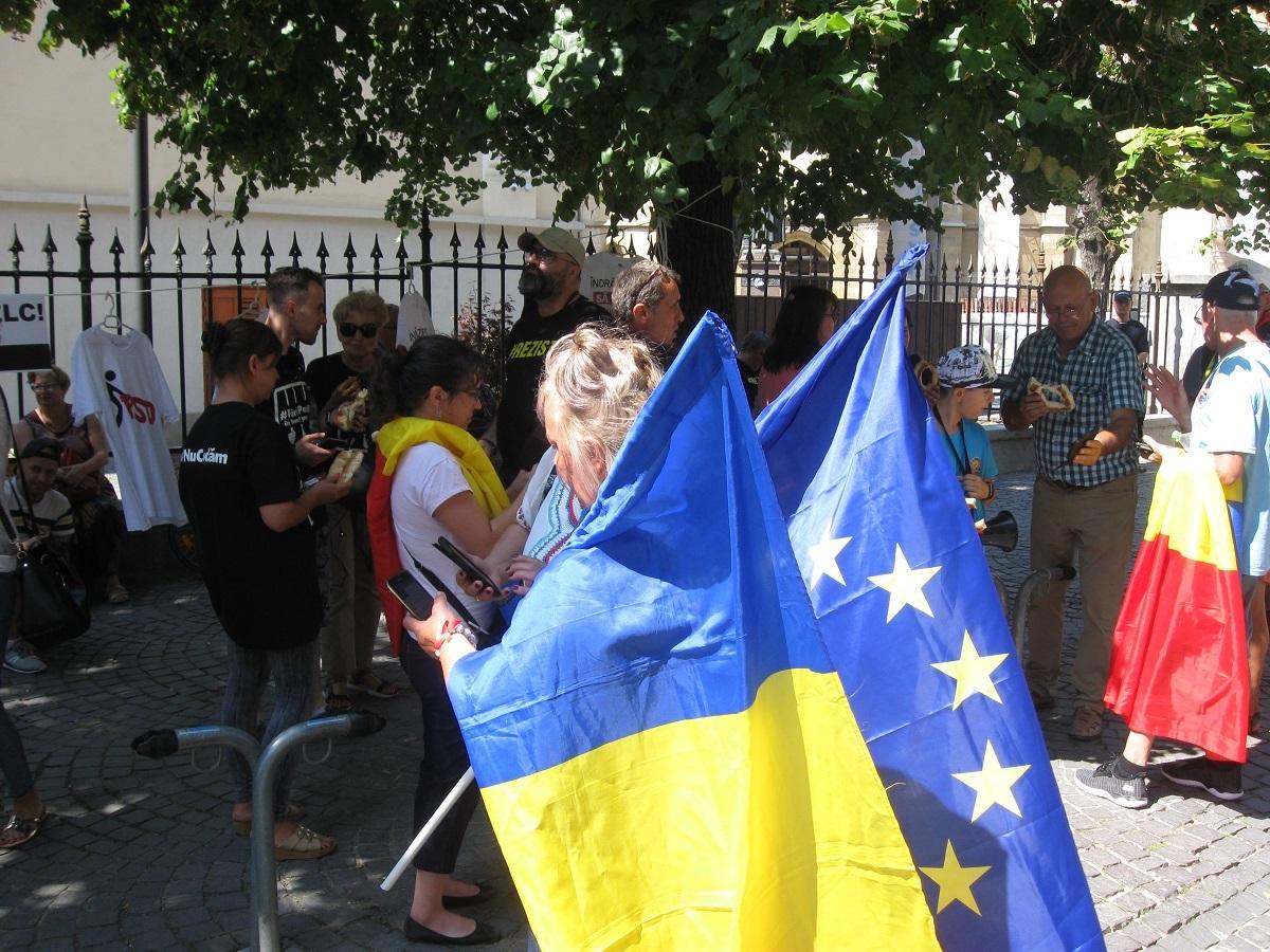 Protestatarii din Diaspora au făcut o escală la Sibiu